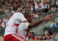 CHESTER, PA - OCTOBER 27, 2012:   Thierry Henry (14) of the New York Red Bulls  after scoring the second goal during an MLS match against the philadelphia Union at PPL Park in Chester, PA. on October 27. Red Bulls won 3-0.