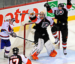 15 November 2008:  Philadelphia Flyers' goaltender Martin Biron watches a high drifting shot by the Montreal Canadiens in the third period at the Bell Centre in Montreal, Quebec, Canada.  The Canadiens, celebrating their 100th season, fell to the visiting Flyers 2-1. ***Editorial Sales Only***..Mandatory Photo Credit: Ed Wolfstein Photo *** Editorial Sales through Icon Sports Media *** www.iconsportsmedia.com