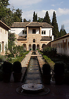 The Water Garden Courtyard, The Generalife, 13th century, redecorated by the king Abu I-Walid Isma'il (1313-1324), The Alhambra, Granada, Andalusia, Spain. Picture by Manuel Cohen