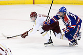 Pat Mullane (BC - 11), Joseph Pendenza (UML - 14) - The Boston College Eagles defeated the visiting University of Massachusetts Lowell River Hawks 6-3 on Sunday, October 28, 2012, at Kelley Rink in Conte Forum in Chestnut Hill, Massachusetts.