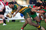 Seremaia Tagicakibau reaches out to score Pukekohe's third try late in the game. Counties Manukau Premier Club Rugby game between Pukekohe and Waiuku played at Colin Lawrie Fields, Pukekohe, on Saturday July 3rd 2010. Pukekohe won 31 - 12 after leading 15 - 9 at halftime.