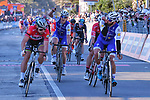Fernando Gaviria (COL) Quick-Step Floors outsprints World Champion Peter Sagan (SVK) Bora-Hansgrohe on the finish line at the end of Stage 6 of the 2017 Tirreno Adriatico running 168km from Ascoli Piceno to Civitanova Marche, Italy. 13th March 2017.<br /> Picture: La Presse/Gian Mattia D'Alberto | Cyclefile<br /> <br /> <br /> All photos usage must carry mandatory copyright credit (&copy; Cyclefile | La Presse)