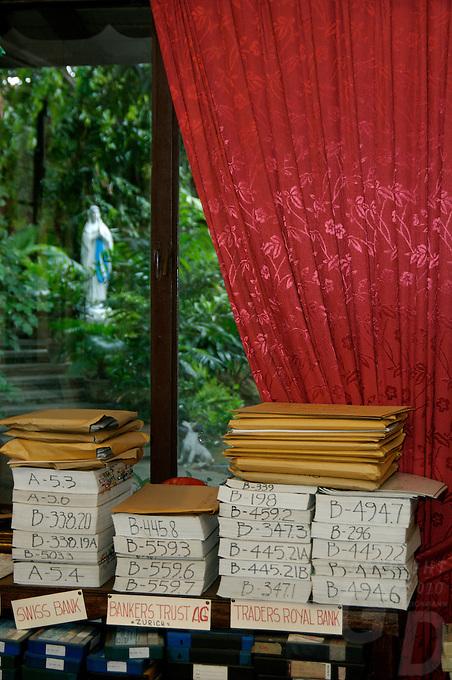 Imelda Marcos, documentation of court cases,in her house in San Juan Manila
