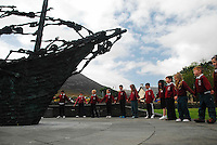 Pupils from St Augustine's National School in Murrisk, Co Mayo holding a minutes silence at the National Famine Monument as part of the events leading to the National Famine Commemoration that will take place in Murrisk on sunday..Pic Conor McKeown..Photo Conor McKeown