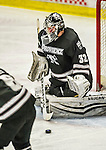 29 December 2014: Providence College Friar Goaltender Jon Gillies, a Junior from South Portland, Maine, makes a third period save against the University of Vermont Catamounts during the deciding game of the annual TD Bank-Sheraton Catamount Cup Tournament at Gutterson Fieldhouse in Burlington, Vermont. Gillies and the Friars shut out the Catamounts 3-0 to win the 2014 Cup. Mandatory Credit: Ed Wolfstein Photo *** RAW (NEF) Image File Available ***