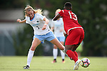 16 September 2016: North Carolina's Annie Kingman (7) knocks the ball away from NC State's Ella Bonner (13). The University of North Carolina Tar Heels hosted the North Carolina State University Wolfpack in a 2016 NCAA Division I Women's Soccer match. NC State won the game 1-0.