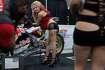 A model poses for a picture during the International motorcycle show in New York, United States. 18/12/2013. Photo by Kena Betancur/VIEWpress.