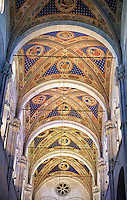 Painted vaulted ceiling of the Cattedrale di San Martino,  Duomo of Lucca, Tunscany, Italy,