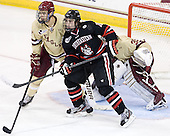 Isaac MacLeod (BC - 7), Cody Ferriero (NU - 79) - The Boston College Eagles defeated the visiting Northeastern University Huskies 3-0 after a banner-raising ceremony for BC's 2012 national championship on Saturday, October 20, 2012, at Kelley Rink in Conte Forum in Chestnut Hill, Massachusetts.