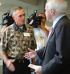 8/16/06 Council Bluffs. IA Sen. John McCain speaks with Garry Struyk, father of candidate Doug Struyk with the media before attending  a breakfast for Iowa House of Representatives candidates Doug Struyk and Scott Belt at Iowa Community College. (Chris Machian/Prairie Pixel Group)