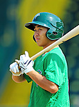2 July 2011: Vermont Lake Monsters' shortstop Chih Fang Pan awaits his turn in the batting cage prior to a game against the Tri-City ValleyCats at Centennial Field in Burlington, Vermont. The Lake Monsters rallied from a 4-2 deficit to defeat the ValletCats 7-4 in NY Penn League action. Mandatory Credit: Ed Wolfstein Photo