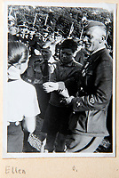 BNPS.co.uk (01202 558833)<br /> Pic: Dickins/BNPS<br /> <br /> Ricthofen with daughter Ellen at the huge Nazi victory parade for the Condor Legion in the heart of Berlin in June 1939. <br /> <br /> The unseen personal photo album of Field Marshal Wolfram von Richthofen, cousin to the legendary Red Baron, which gives an unprecedented insight into his military career in the Third Reich, has been rediscovered.<br /> <br /> Wolfram served in the Red Baron's squadron in the WW1, went on to design the 'Jericho trumpet' of the infamous Stuka Bomber between the wars, before leading the Condor Legion in the Spanish Civil War.<br /> <br /> After the outbreak of WW2 the fascinating album shows Richthofen's lead roll in Operation Barbarossa - the Nazi's suprise invasion of Communist Russia and their race to conquer the vast country before the onset of the notorious Russian winter.<br /> <br /> The two albums were taken from Berlin by a British soldier at the end of the Second World War who kept it for 60 years before it was passed into the hands of a private collector.<br /> <br /> Dickins auctions are selling the historic albums with a &pound;20,000 estimate on 31st March.