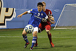 07 December 2012: Creighton's Sean Kim (9) is defended by Indiana's Caleb Konstanski (22). The Creighton University Bluejays played the Indiana University Hoosiers at Regions Park Stadium in Hoover, Alabama in a 2012 NCAA Division I Men's Soccer College Cup semifinal game. Indiana won the game 1-0.