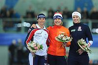 SPEED SKATING: STAVANGER: Sørmarka Arena, 31-01-2016, ISU World Cup, Podium combined ranking 500-1000m Ladies, Brittany Bowe (USA), Mirjam Steunebrink (on behalf of Jorien ter Mors), Vanessa Bittner (AUT), ©photo Martin de Jong