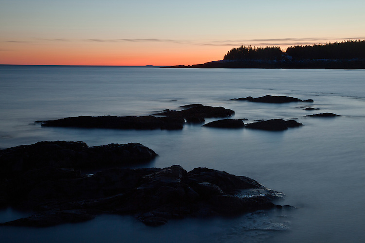 Sunset on Arey Cove as viewed from Little Moose Island in Acadia National Park, Maine, USA