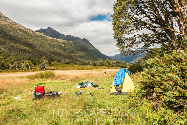 Camping near Greenstone Saddle, Fiordland National Park, Southland, South Island, World Heritage Area, New Zealand