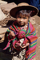 Little Maya girl of Todos Santos Cuchumatanes village, Cuchumatanes Mountains, Huehuetenango Department, Guatemala, Central America