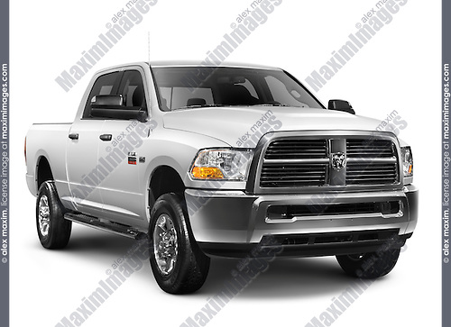 White 2010 Dodge RAM 2500 heavy duty pickup truck isolated on white background with clipping path