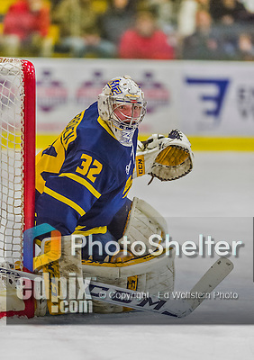 21 February 2015:  Merrimack College Warrior Goaltender Rasmus Tirronen, a Senior from Espoo, Finland, in overtime action against the University of Vermont Catamounts at Gutterson Fieldhouse in Burlington, Vermont. The teams played to a scoreless tie to wrap up the regular home season for the Cats. Mandatory Credit: Ed Wolfstein Photo *** RAW (NEF) Image File Available ***