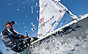 Pictures of Laser world champion Paul Goodison training in Weymouth, UK..Credit: Lloyd Images.