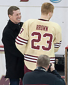 Doug Brown, Patrick Brown (BC - 23) - The visiting University of Notre Dame Fighting Irish defeated the Boston College Eagles 2-1 in overtime on Saturday, March 1, 2014, at Kelley Rink in Conte Forum in Chestnut Hill, Massachusetts.