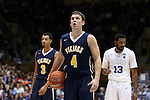 04 November 2016: Augustana's Mike Busack (4) prepares to shoot a free throw. The Duke University Blue Devils hosted the Augustana University Vikings at Cameron Indoor Stadium in Durham, North Carolina in a 2016-17 NCAA Division I Men's Basketball exhibition game.