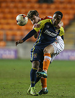 Blackpool's Andy Taylor battles with Stevenage's Kaylen Hinds<br /> <br /> Photographer Alex Dodd/CameraSport<br /> <br /> The EFL Sky Bet League Two - Blackpool v Stevenage - Tuesday 14th March 2017 - Bloomfield Road - Blackpool<br /> <br /> World Copyright &copy; 2017 CameraSport. All rights reserved. 43 Linden Ave. Countesthorpe. Leicester. England. LE8 5PG - Tel: +44 (0) 116 277 4147 - admin@camerasport.com - www.camerasport.com