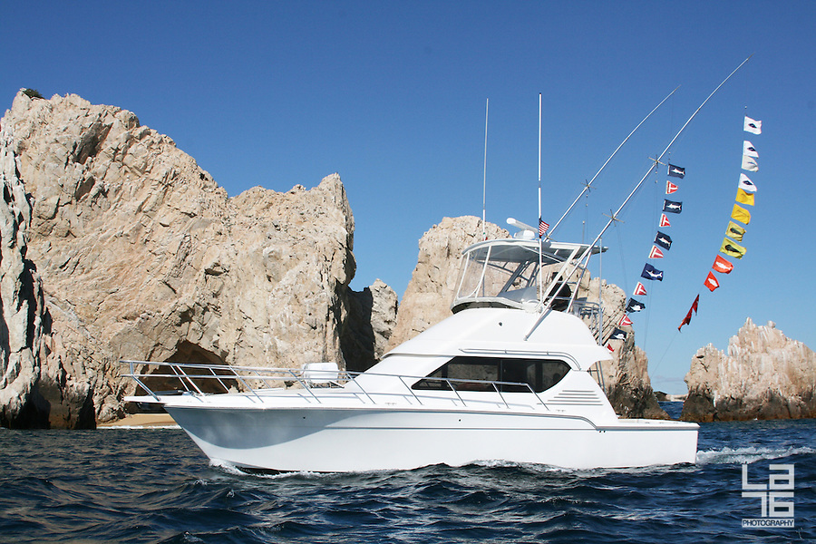 Sport fishing yacht at the Land's End, Cabo San Lucas