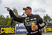 Aug 20, 2016; Brainerd, MN, USA; NHRA top fuel driver Tony Schumacher reacts during qualifying for the Lucas Oil Nationals at Brainerd International Raceway. Mandatory Credit: Mark J. Rebilas-USA TODAY Sports