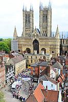Picture by Allan McKenzie/SWpix.com 15/05/2016 - Cycling, Lincoln Grand Prix 2016 <br /> Peloton Lincoln Cathedral<br /> copyright picture - Simon Wilkinson - simon@swpix.com