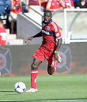 Chicago forward Dominic Oduro (8) dribbles down the field.  The Chicago Fire defeated the New York Red Bulls 3-1 at Toyota Park in Bridgeview, IL on June 17, 2012.
