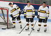 Adam Frank (WIT - 13), Mick Bruce (WIT - 27), Joe Mottiqua (WIT - 17) - The Wentworth Institute of Technology Leopards defeated the visiting Curry College Colonels 1-0 on Saturday, November 23, 2013, at Walter Brown Arena in Boston, Massachusetts.