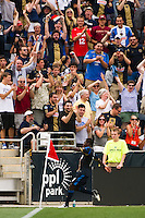 Freddy Adu (11) of the Philadelphia Union celebrates scoring. The Philadelphia Union defeated Toronto FC 3-0 during a Major League Soccer (MLS) match at PPL Park in Chester, PA, on July 8, 2012.