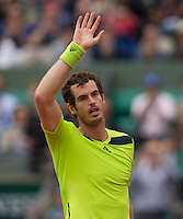 ANDY MURRAY (GBR)<br /> <br /> Tennis - French Open 2014 -  Toland Garros - Paris -  ATP-WTA - ITF - 2014  - France - <br /> 1st June 2014. <br /> <br /> &copy; AMN IMAGES
