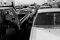 Sebha, Libya, March 30, 2011..The embargo against Libya is starting to take a toll on the economy, the most visible sign being the long queues at the rare petrol stations still open...