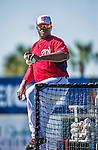 11 March 2014: Washington Nationals coach Nilson Robledo tosses batting practice prior to a Spring Training game against the New York Yankees at Space Coast Stadium in Viera, Florida. The Nationals defeated the Yankees 3-2 in Grapefruit League play. Mandatory Credit: Ed Wolfstein Photo *** RAW (NEF) Image File Available ***