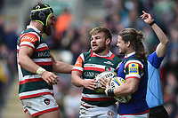 Jack Roberts of Leicester Tigers celebrates his second half try with team-mates Graham Kitchener and Harry Thacker. Aviva Premiership match, between Leicester Tigers and Sale Sharks on April 29, 2017 at Welford Road in Leicester, England. Photo by: Patrick Khachfe / JMP