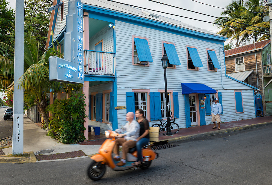KEY WEST, FL - CIRCA 2012: Facade of Blue Heaven Cafe  a landmark in Key West circa 2012. The tropical city is a popular tourist destination with over 2 million yearly visitors.