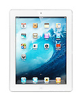 White Apple iPad 2 tablet computer with blue ocean desktop theme on its display. Isolated with clipping path on white background.