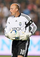 CARSON, CA – July 4, 2011: Seattle Sounders goalie Kasey Keller (18) during the match between LA Galaxy and Seattle Sounders FC at the Home Depot Center in Carson, California. Final score LA Galaxy 0, Seattle Sounders FC 0.