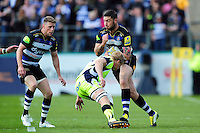 Matt Banahan of Bath Rugby takes on the Sale Sharks defence. Aviva Premiership match, between Bath Rugby and Sale Sharks on April 23, 2016 at the Recreation Ground in Bath, England. Photo by: Patrick Khachfe / Onside Images