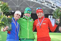 SCHAATSEN: AMSTERDAM: Olympisch Stadion, 02-03-2014, KPN NK Sprint/Allround, Coolste Baan van Nederland, podium Dames Allround 1500m, Irene Schouten, Diane Valkenburg, Yvonne Nauta, ©foto Martin de Jong