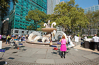 """As part of """"Wool Uncovered"""" the fountain in Bryant Park in New York is decorated in a wool sculpture, on Thursday, September 27, 2012. The sheep and the accompanying installation are part of the """"Campaign for Wool"""", a promotional event by the British wool industry to promote wool as a sustainable and natural product and to educate about the benefits of sheep farming. (© Richard B. Levine)"""