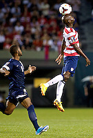 PORTLAND, Ore. - July 9, 2013: DaMarcus Beasley heads the ball in the second half. The US Men's National team plays the National team of Belize during the 2013 Gold Cup at at JELD-WEN Field.