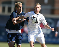 Ian Christianson #6 of Georgetwn University pushes the ball away from Kyle Soroka #5 of Villanova University during a Big East match at North Kehoe Field, Georgetown University on October16 2010 in Washington D.C. Georgetown won 3-1.