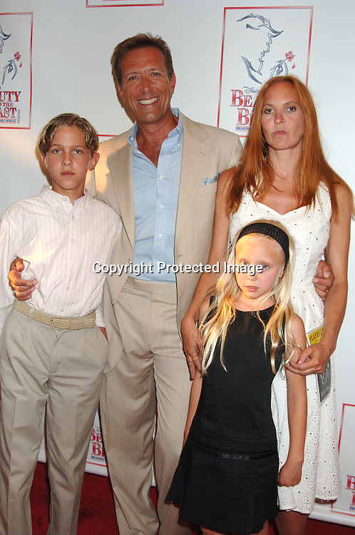 """Walt Willey and wife Marie, son Chance and daughter Merit..at The 5000th performance of """"Beauty and The Beast""""..on June 20, 2006 at The Lunt-Fontanne Theatre...Jacob Young of All My Children is starring as Lumiere. ..Robin Platzer, Twin Images"""