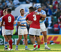 Halani Aulika of Tonga and Juan Pablo Orlandi of Argentina. Rugby World Cup Pool C match between Argentina and Tonga on October 4, 2015 at Leicester City Stadium in Leicester, England. Photo by: Patrick Khachfe / Onside Images