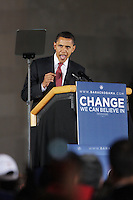 Democratic presidential candidate Barack Obama speaks during a rally held on the night of the Texas primary election, March 4, 2008, in front of the Municipal Auditorium building in San Antonio, Texas. (Darren Abate/PressPhotoIntl.com)