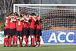 14 November 2010: Maryland starters huddle before the game. The University of Maryland Terrapins defeated the University of North Carolina Tar Heels 1-0 at WakeMed Soccer Park in Cary, North Carolina in the ACC Men's Soccer Tournament Championship game.