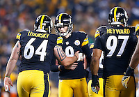 Chris Boswell #9 of the Pittsburgh Steelers is congratulated by teammate Doug Legursky #64 of the Pittsburgh Steelers after kicking a field goal against the Indianapolis Colts during the game at Heinz Field on December 6, 2015 in Pittsburgh, Pennsylvania. (Photo by Jared Wickerham/DKPittsburghSports)